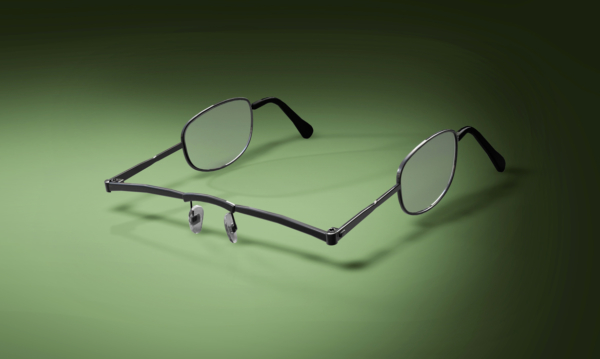 Pair of glasses with lenses on the sides